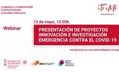 13 DE MAIG | Presentació de projectes d'innovació contra el COVID-19